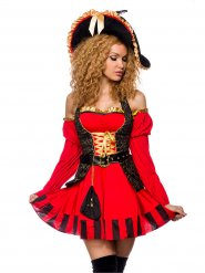 Déguisement capitaine pirate rouge et or femme