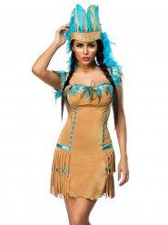 Déguisement femme indienne beige-bleu