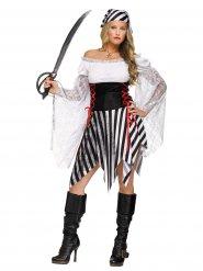 Déguisement de pirate noir et blanc femme