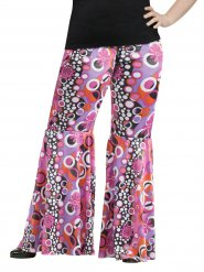Pantalon hippie motifs flower power grande taille