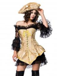 Déguisement pirate corset doré sexy femme