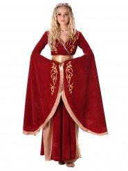 Déguisement reine médiévale rouge et or femme