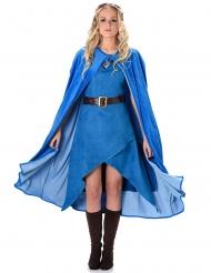 Déguisement guerrière médiévale bleu femme