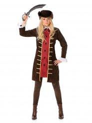 Déguisement pirate veste marron femme