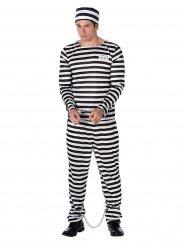 Déguisement prisonnier rayé noir et blanc homme