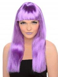 Perruque frange femme violet