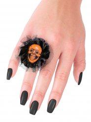 Bague tête de mort et tulle noir-orange