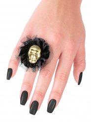 Bague tête de mort dorée Halloween 5x5x2cm