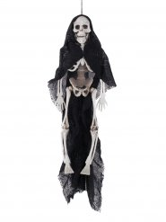 Suspension squelette cape noire Halloween 40 cm