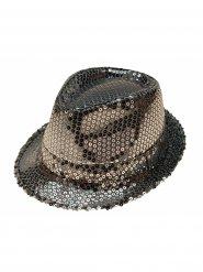 Chapeau de gangster sequins argentés