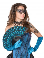 Eventail plumes de paon turquoise