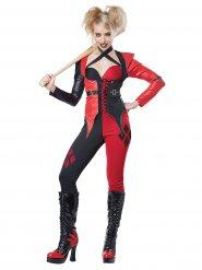 Déguisement Halloween Arlequin pour femme rouge et noir