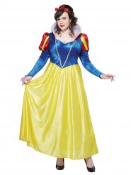 Costume Blanche Neige grande taille pour femme jaune et bleu