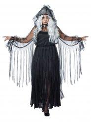 Déguisement élégant fantôme Halloween grande taille noir femme