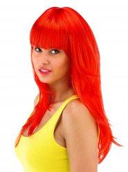 Perruque longue rouge avec frange femme