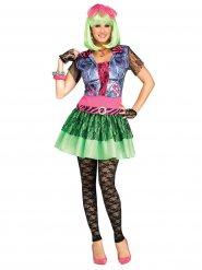Déguisement rockeuse années 80 multicolore femme