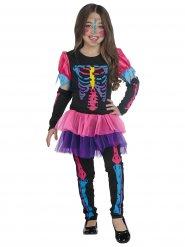 Déguisement squelette coloré fluo fille Halloween