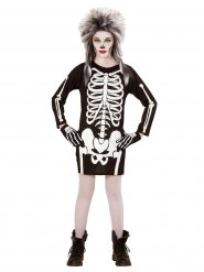 Déguisement squelette noir et blanc fille Halloween