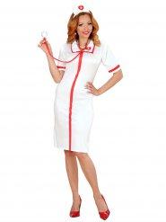 Déguisement infirmière femme sexy blanc rouge