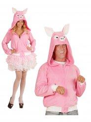 Veste à capuche cochon adulte