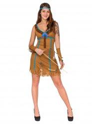 Déguisement indienne femme marron et bleu