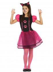 Déguisement de chat pour fille noir et rose