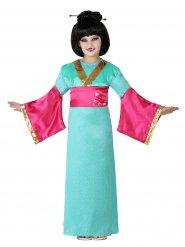 Déguisement geisha fille vert et rose