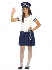 Déguisement petit officier de police fille blanc et bleu