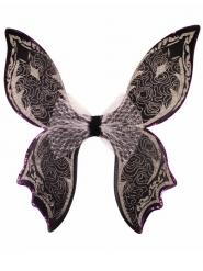Ailes fée papillon paillettes noir et blanc