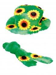 Chapeau et foulard à fleurs hippie adulte