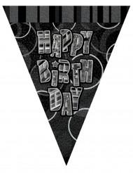 Guirlande fanions gris Happy Birthday 2,74 m