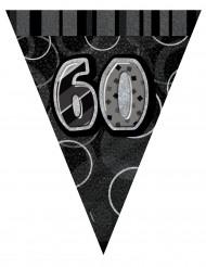 Guirlande fanions gris Age 60 ans 2,74 m