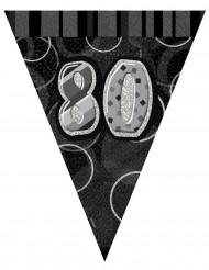 Guirlande fanions gris Age 80 ans 2,74 m