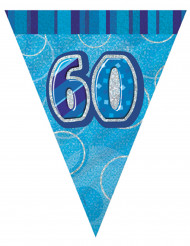 Guirlande fanions bleu Age 60 ans 2,74m