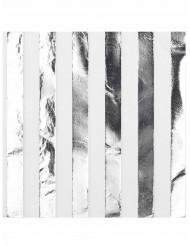 16 Serviettes en papier blanc et argent 33 x 33 cm