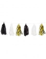 Guirlande 15 tassels dorés noirs blancs 2,74 m