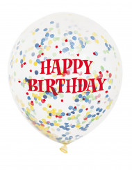 6 Ballons en latex transparent Happy Birthday 30 cm