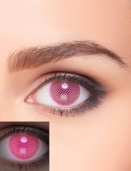 Lentilles fantaisie UV quadrillage rose adulte