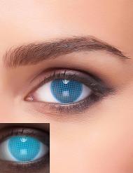 Lentilles fantaisie UV quadrillage bleu adulte