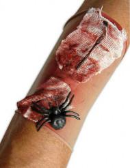 Manchon plaie ensanglantée avec araignée adulte Halloween