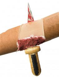Manchon plaie ensanglantée avec couteau adulte Halloween