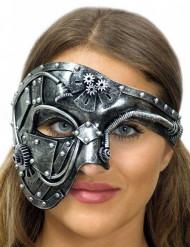 Demi masque sexy argenté adulte Steampunk