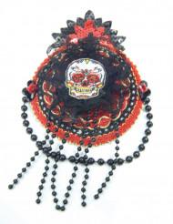 Mini chapeau rouge et noir Dia de los muertos femme