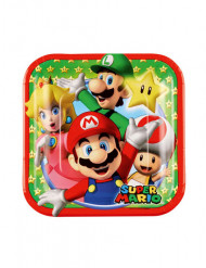 8 Petites assiettes en carton Super Mario™ 18 cm