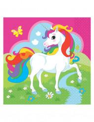 20 Serviettes en papier Licorne multicolore 33 x 33 cm