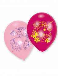 6 Ballons latex Licorne rose