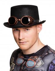 Chapeau avec lunettes adulte Steampunk