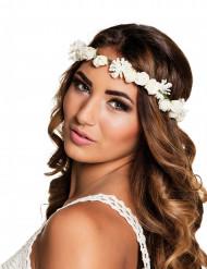 Couronne de fleurs blanche adulte