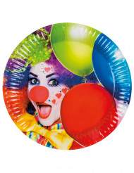 6 Assiettes en carton Clown party 23 cm