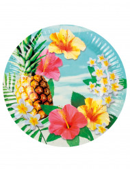 6 Assiettes en carton Hawaii party 23 cm